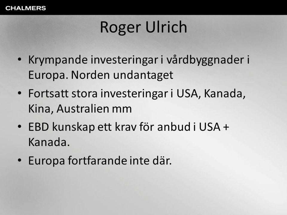 Roger Ulrich Krympande investeringar i vårdbyggnader i Europa. Norden undantaget Fortsatt stora investeringar i USA, Kanada, Kina, Australien mm EBD k