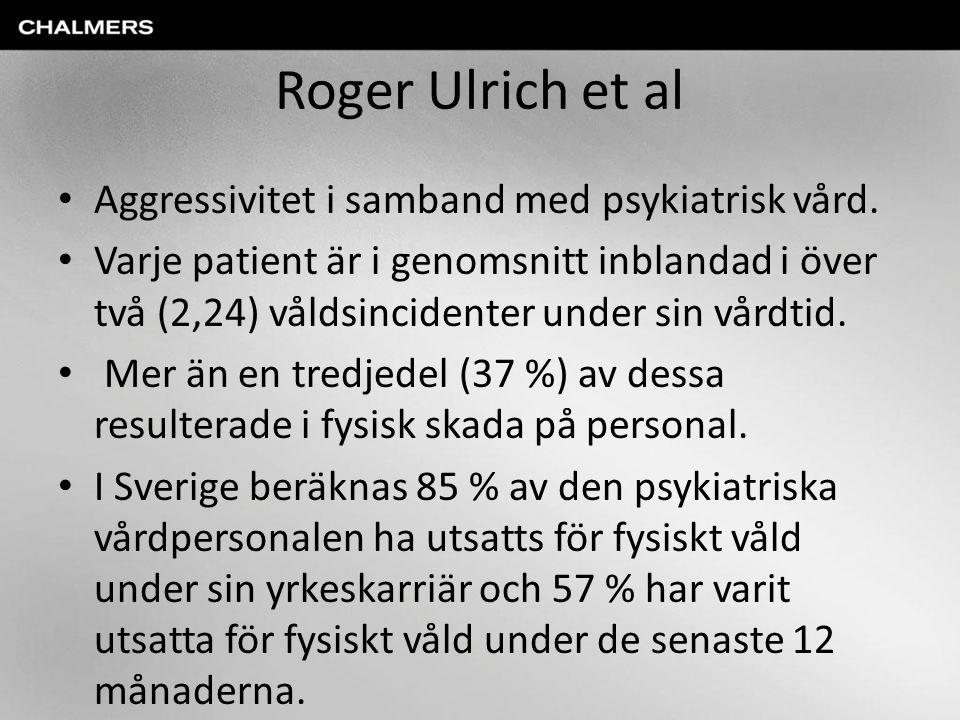 Roger Ulrich et al Aggressivitet i samband med psykiatrisk vård. Varje patient är i genomsnitt inblandad i över två (2,24) våldsincidenter under sin v