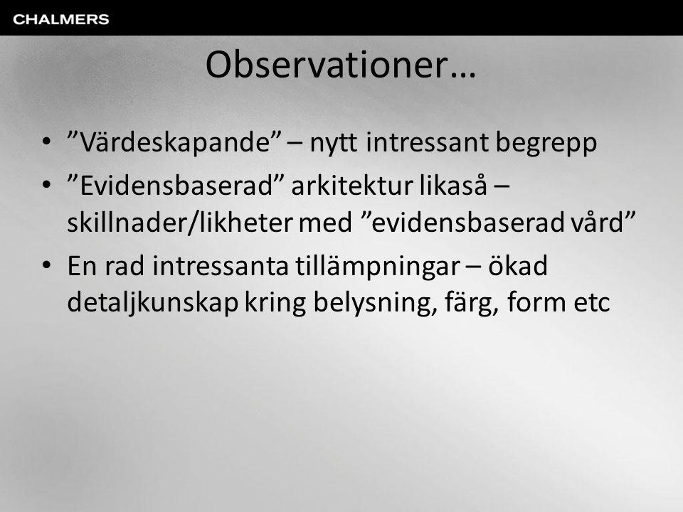 Observationer… Värdeskapande – nytt intressant begrepp Evidensbaserad arkitektur likaså – skillnader/likheter med evidensbaserad vård En rad intressanta tillämpningar – ökad detaljkunskap kring belysning, färg, form etc