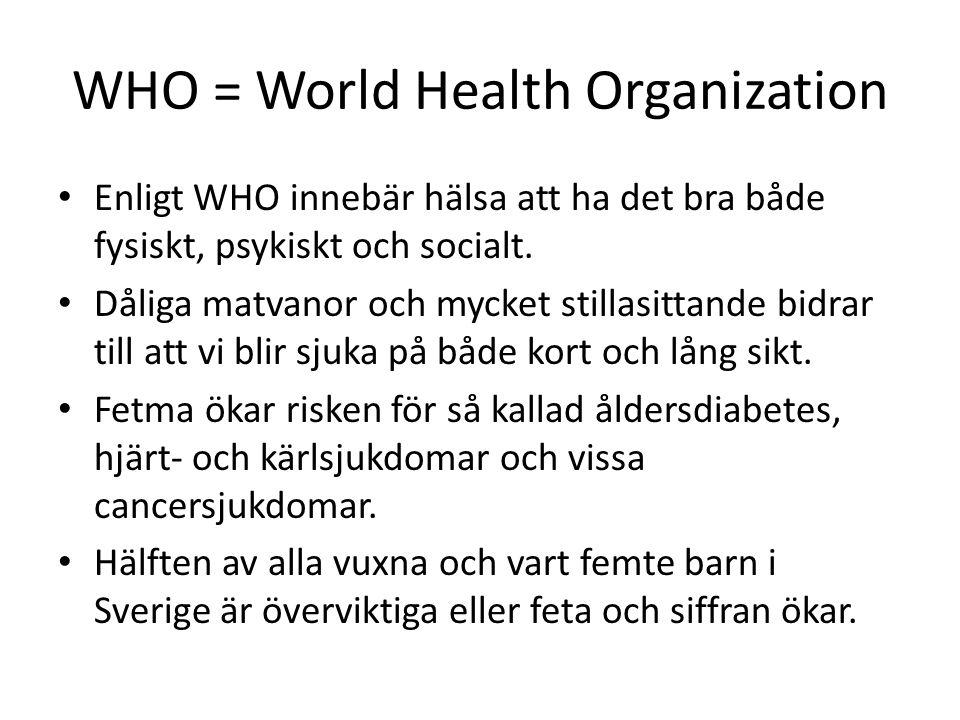 WHO = World Health Organization Enligt WHO innebär hälsa att ha det bra både fysiskt, psykiskt och socialt. Dåliga matvanor och mycket stillasittande