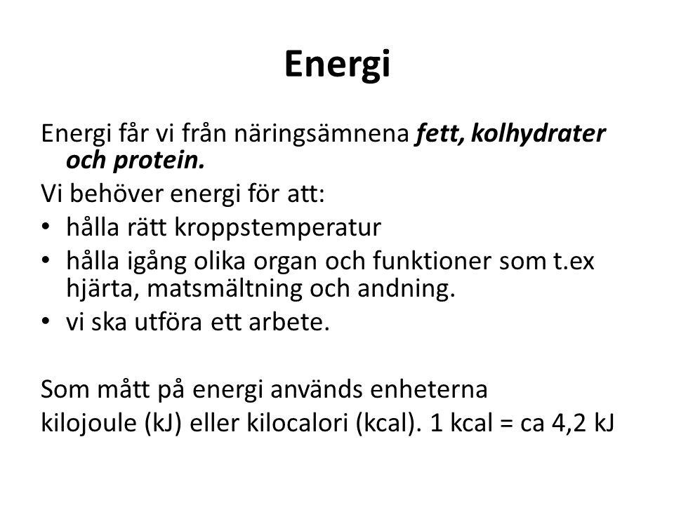Energi Energi får vi från näringsämnena fett, kolhydrater och protein. Vi behöver energi för att: hålla rätt kroppstemperatur hålla igång olika organ