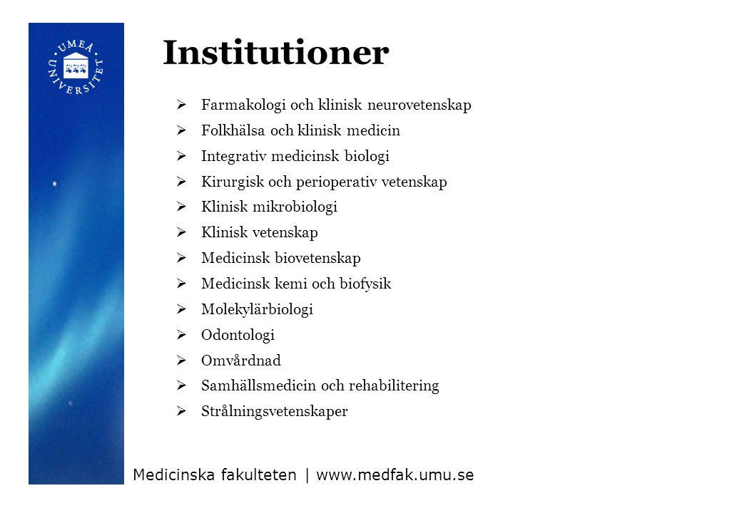 Organisation Medicinska fakulteten   www.medfak.umu.se