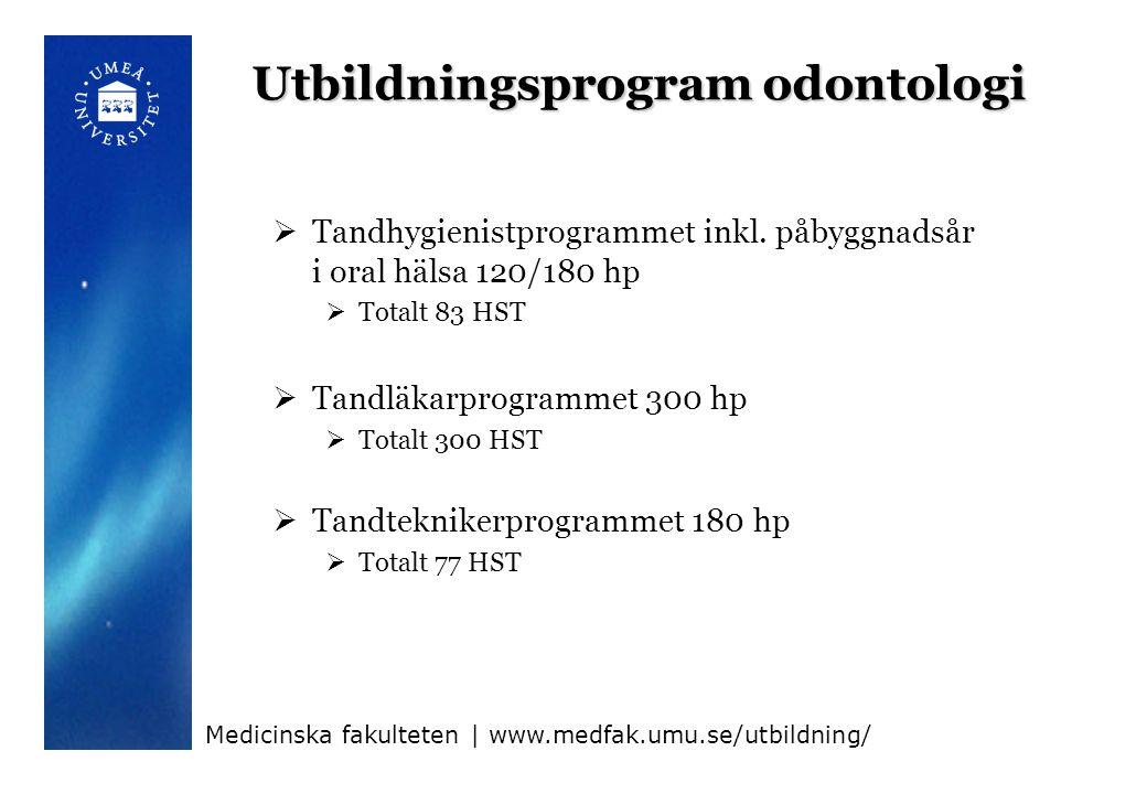 Utbildningsprogram vård (1)  Sjuksköterskeprogrammet 180 hp  Totalt 747 HST  Kursorter: Umeå, Skellefteå, Örnsköldsvik  Nätburen utb.