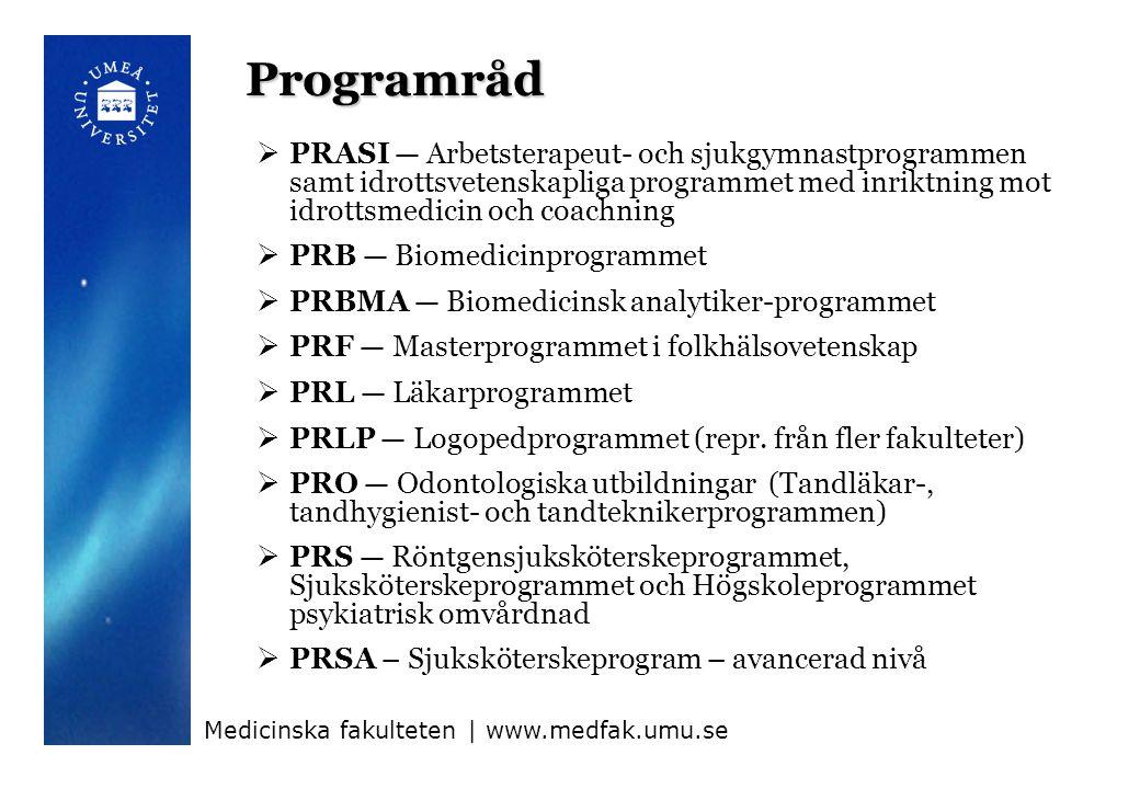 Programråd  PRASI — Arbetsterapeut- och sjukgymnastprogrammen samt idrottsvetenskapliga programmet med inriktning mot idrottsmedicin och coachning  PRB — Biomedicinprogrammet  PRBMA — Biomedicinsk analytiker-programmet  PRF — Masterprogrammet i folkhälsovetenskap  PRL — Läkarprogrammet  PRLP — Logopedprogrammet (repr.
