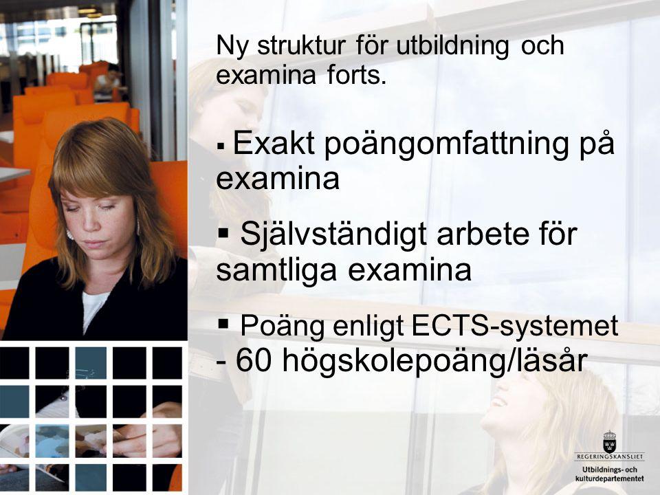Ny struktur för utbildning och examina forts.  Exakt poängomfattning på examina  Självständigt arbete för samtliga examina  Poäng enligt ECTS-syste