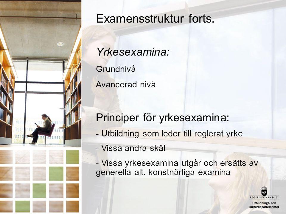 Examensstruktur forts. Yrkesexamina: Grundnivå Avancerad nivå Principer för yrkesexamina: - Utbildning som leder till reglerat yrke - Vissa andra skäl
