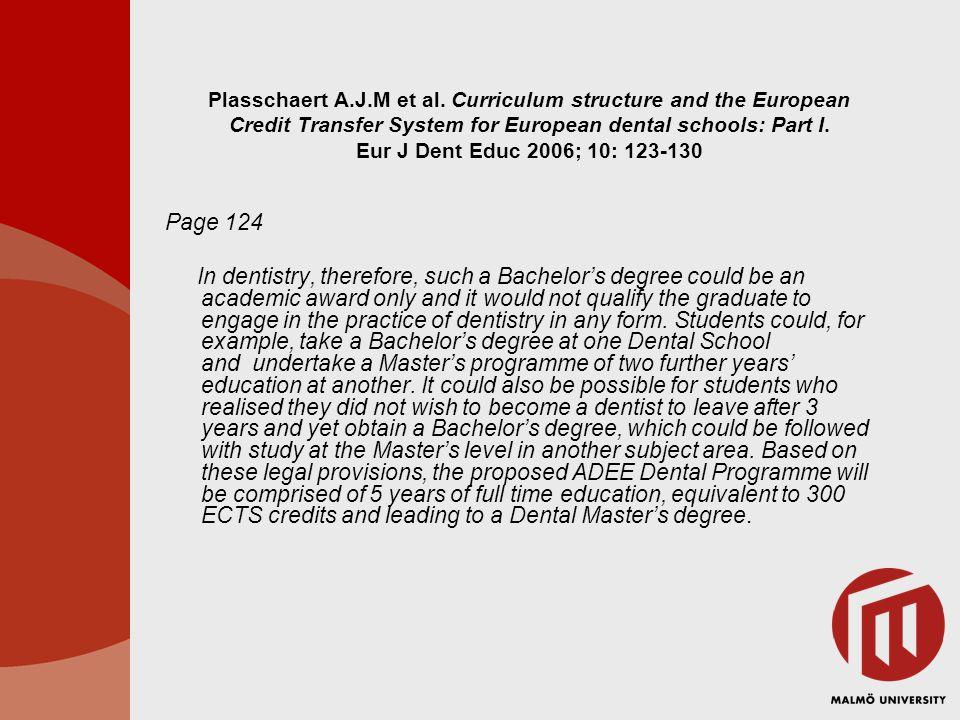 Plasschaert A.J.M et al. Curriculum structure and the European Credit Transfer System for European dental schools: Part I. Eur J Dent Educ 2006; 10: 1