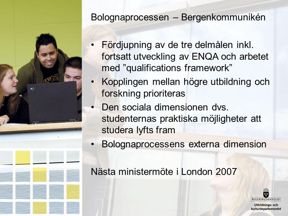 """Bolognaprocessen – Bergenkommunikén Fördjupning av de tre delmålen inkl. fortsatt utveckling av ENQA och arbetet med """"qualifications framework"""" Koppli"""