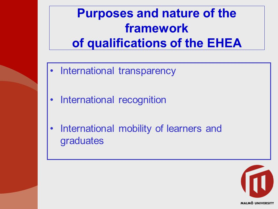 Purposes and nature of the framework of qualifications of the EHEA International transparency International recognition International mobility of learners and graduates