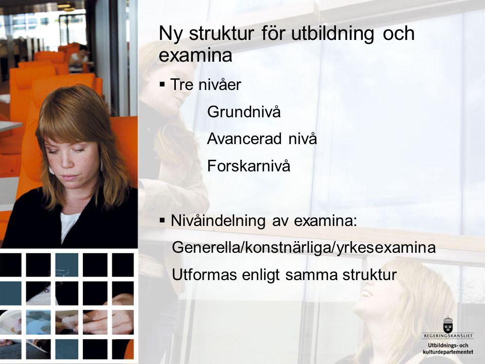 Ny struktur för utbildning och examina  Tre nivåer Grundnivå Avancerad nivå Forskarnivå  Nivåindelning av examina: Generella/konstnärliga/yrkesexami