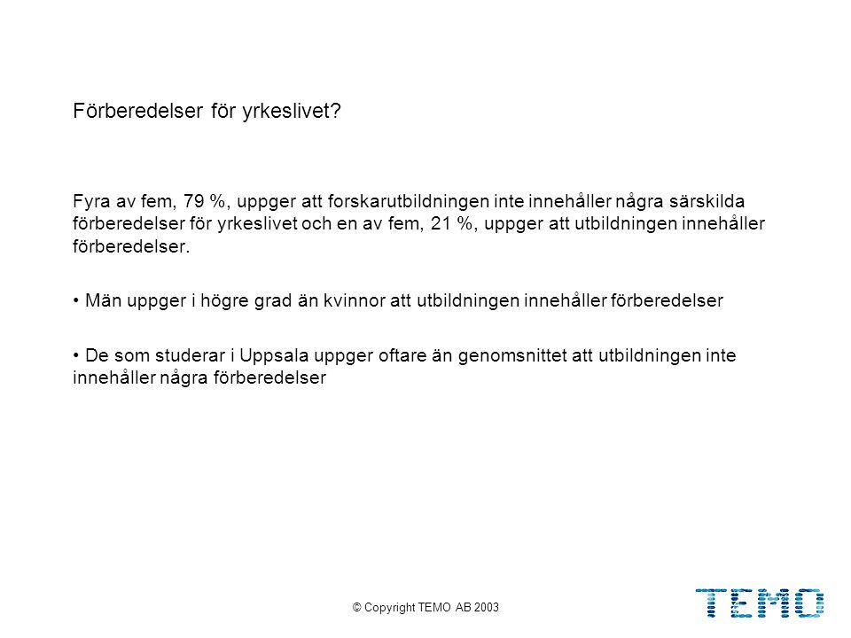 © Copyright TEMO AB 200313 Förberedelser för yrkeslivet.