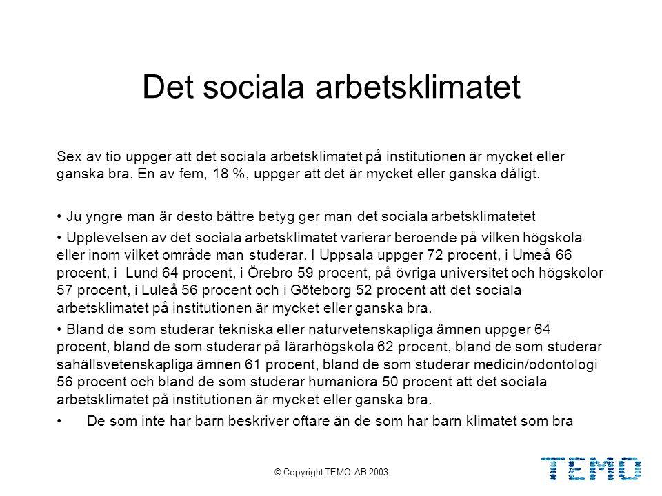 © Copyright TEMO AB 200315 Det sociala arbetsklimatet Sex av tio uppger att det sociala arbetsklimatet på institutionen är mycket eller ganska bra.