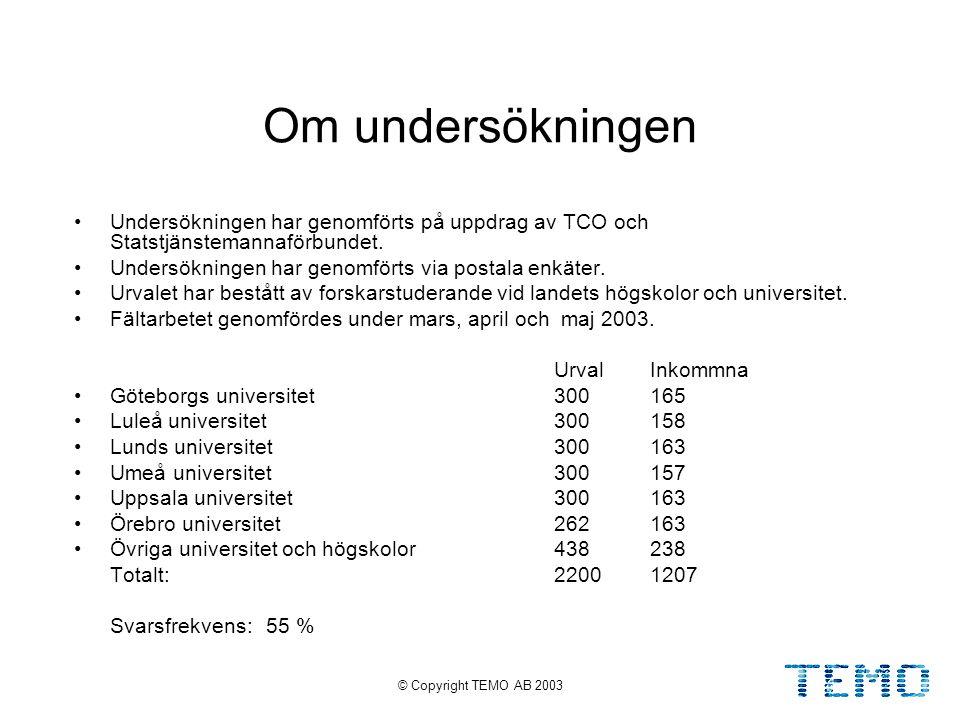 © Copyright TEMO AB 20032 Om undersökningen Undersökningen har genomförts på uppdrag av TCO och Statstjänstemannaförbundet.
