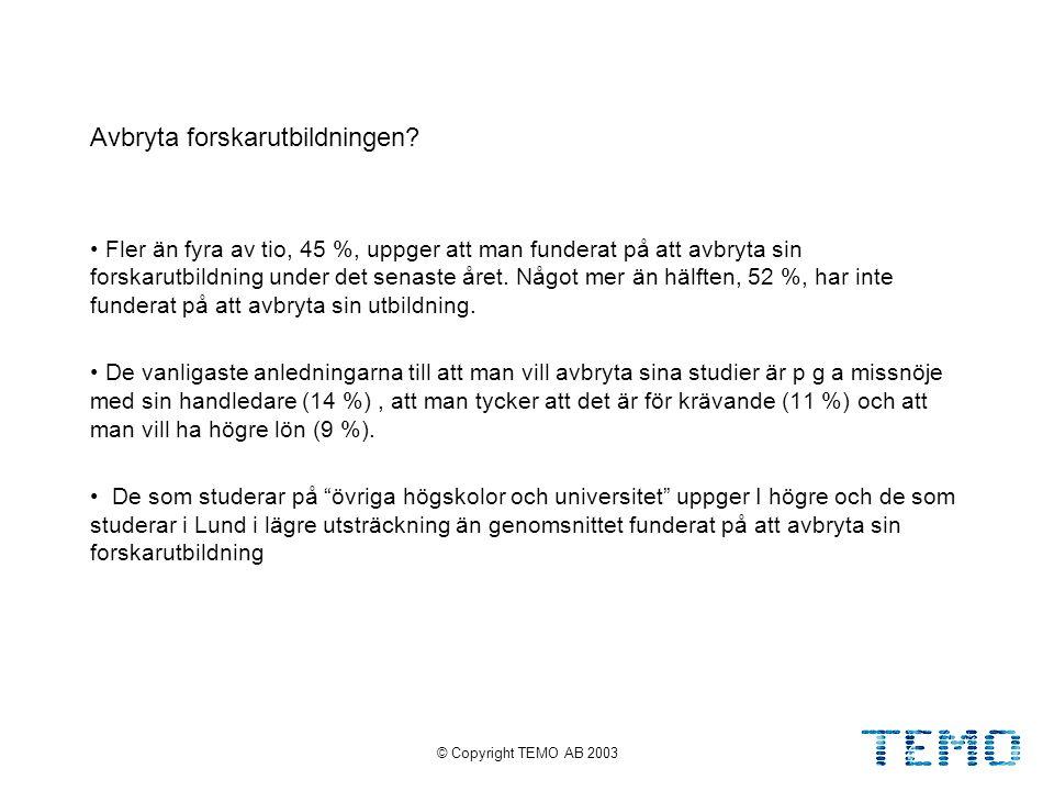 © Copyright TEMO AB 200325 Avbryta forskarutbildningen.