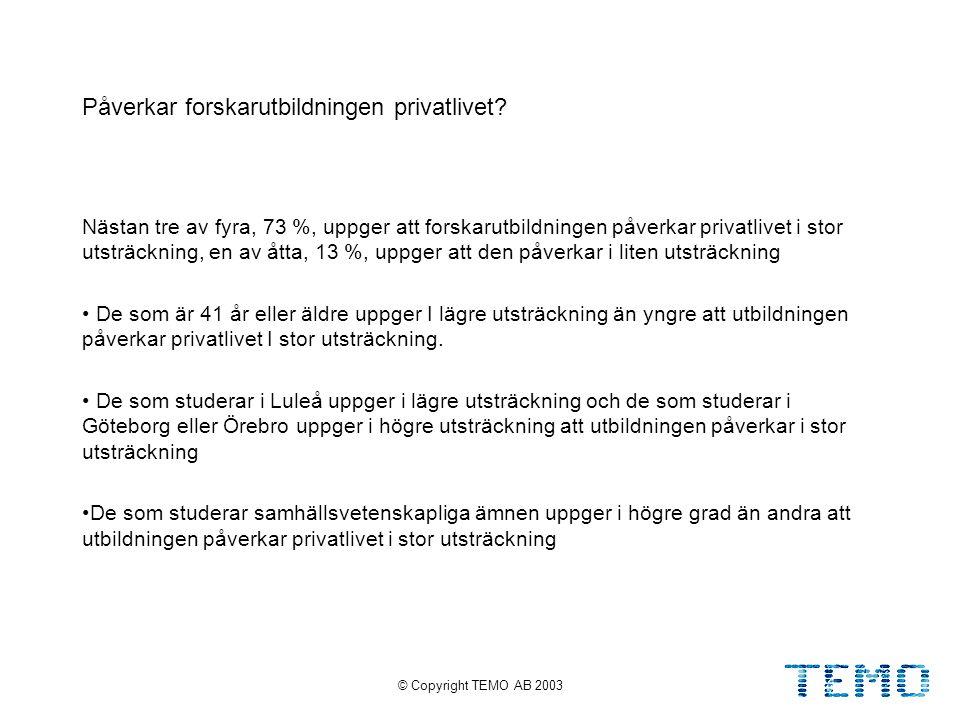 © Copyright TEMO AB 200327 Påverkar forskarutbildningen privatlivet.