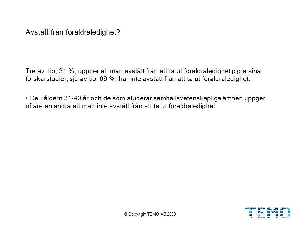© Copyright TEMO AB 200333 Avstått från föräldraledighet.