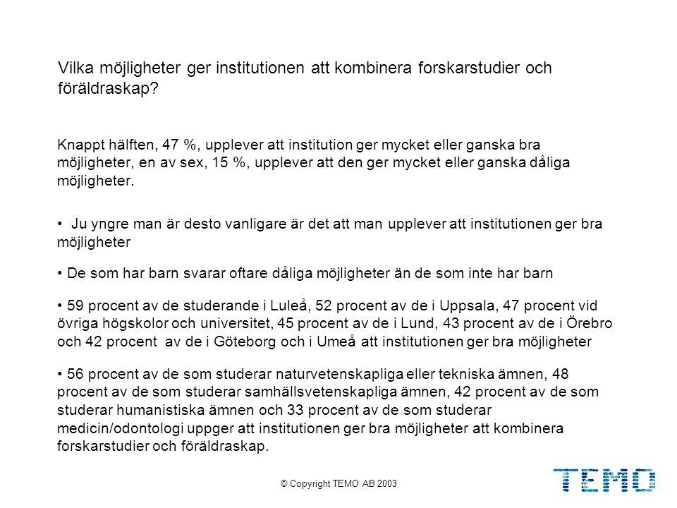 © Copyright TEMO AB 200335 Vilka möjligheter ger institutionen att kombinera forskarstudier och föräldraskap.