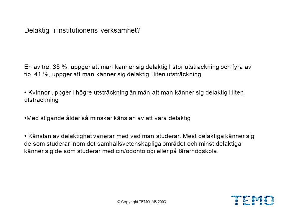 © Copyright TEMO AB 20038 Delaktig i institutionens verksamhet.