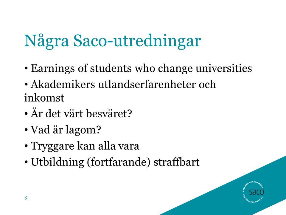 Några Saco-utredningar Earnings of students who change universities Akademikers utlandserfarenheter och inkomst Är det värt besväret.