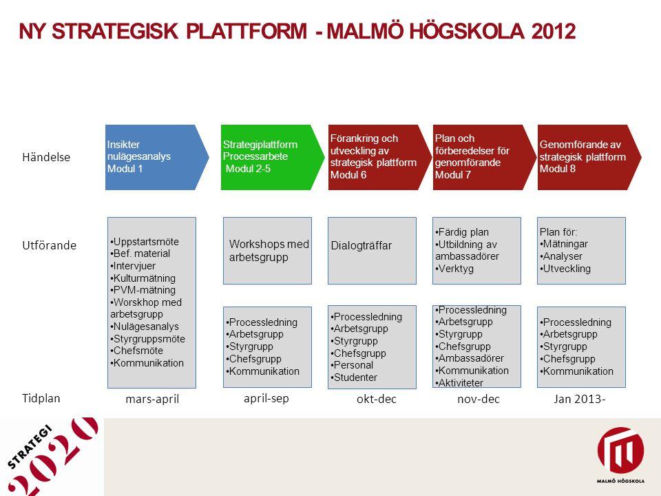 NY STRATEGISK PLATTFORM - MALMÖ HÖGSKOLA 2012 Insikter nulägesanalys Modul 1 Strategiplattform Processarbete Modul 2-5 Förankring och utveckling av st