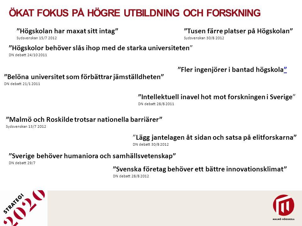 """""""Tusen färre platser på Högskolan"""" Sydsvenskan 30/8 2012 """"Malmö och Roskilde trotsar nationella barriärer"""" Sydsvenskan 13/7 2012 """"Fler ingenjörer i ba"""
