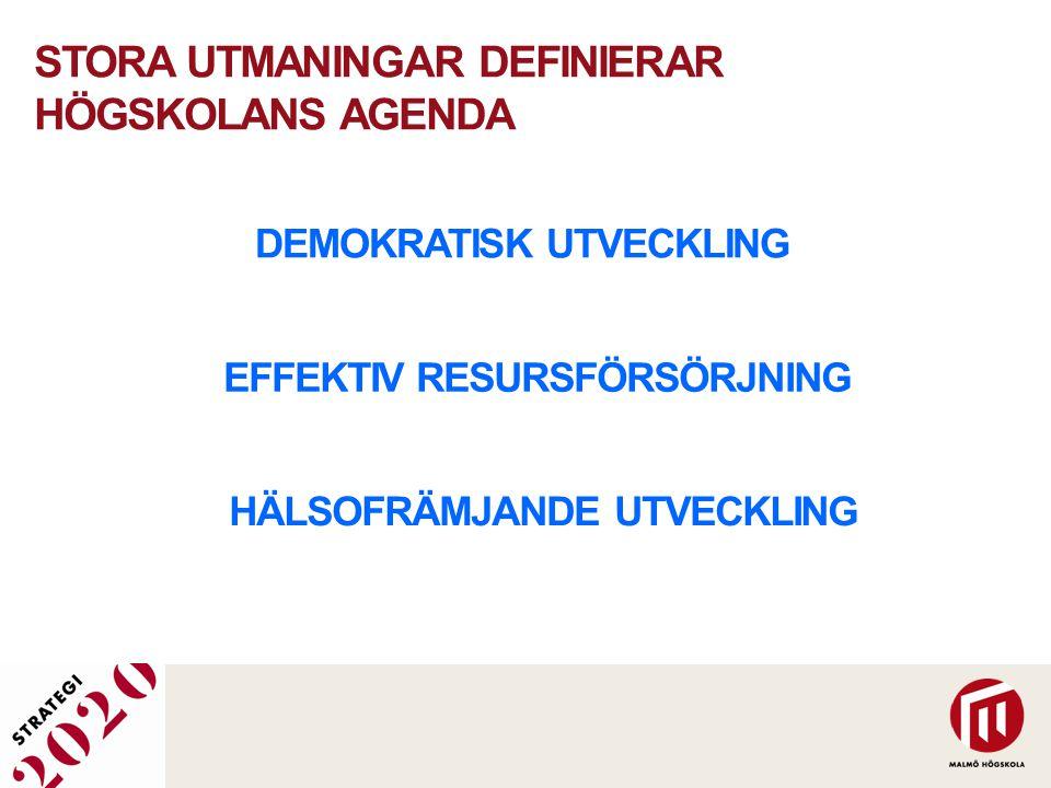 STORA UTMANINGAR DEFINIERAR HÖGSKOLANS AGENDA DEMOKRATISK UTVECKLING EFFEKTIV RESURSFÖRSÖRJNING HÄLSOFRÄMJANDE UTVECKLING