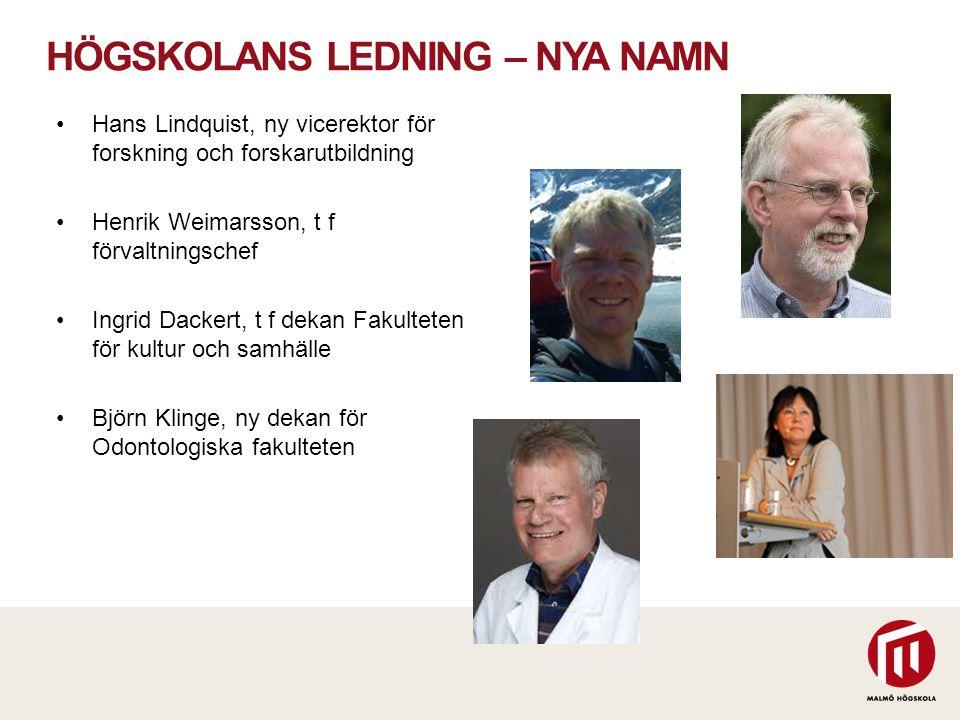 HÖGSKOLANS LEDNING – NYA NAMN Hans Lindquist, ny vicerektor för forskning och forskarutbildning Henrik Weimarsson, t f förvaltningschef Ingrid Dackert