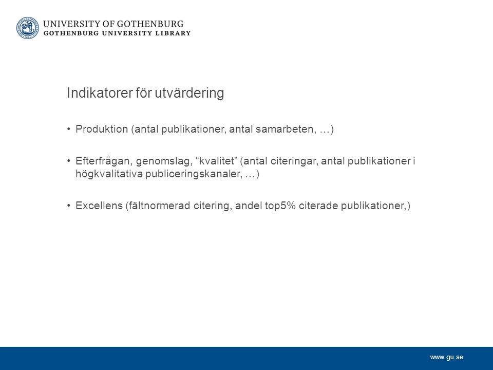 """www.gu.se Indikatorer för utvärdering Produktion (antal publikationer, antal samarbeten, …) Efterfrågan, genomslag, """"kvalitet"""" (antal citeringar, anta"""