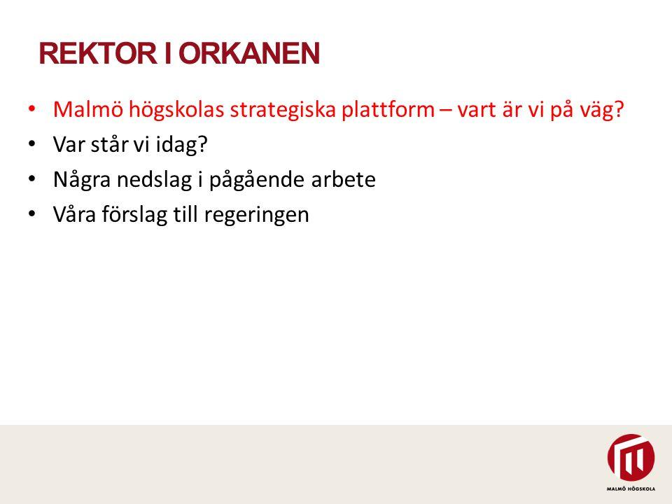 REKTOR I ORKANEN Malmö högskolas strategiska plattform – vart är vi på väg? Var står vi idag? Några nedslag i pågående arbete Våra förslag till regeri