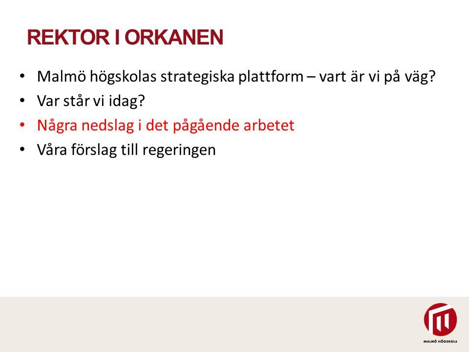 REKTOR I ORKANEN Malmö högskolas strategiska plattform – vart är vi på väg? Var står vi idag? Några nedslag i det pågående arbetet Våra förslag till r
