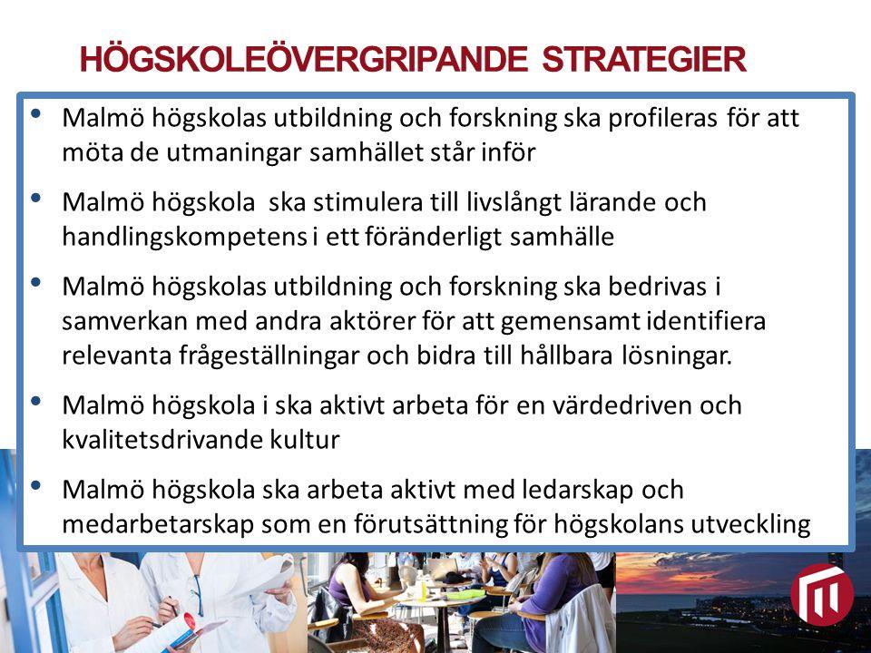 HÖGSKOLEÖVERGRIPANDE STRATEGIER Malmö högskola arbetar utifrån fem övergripande strategier för att nå högskolans målbild 2020. Malmö högskolas utbildn