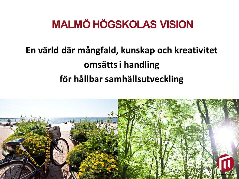 MALMÖ HÖGSKOLAS VERKSAMHETSIDÉ Utbildning och forskning för hållbar samhällsutveckling Malmö högskola är ett aktivt nav för samhällsnyttig forskning, utbildning och innovation.