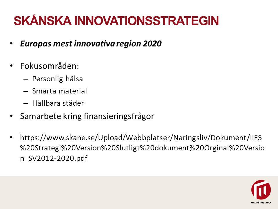 SKÅNSKA INNOVATIONSSTRATEGIN Europas mest innovativa region 2020 Fokusområden: – Personlig hälsa – Smarta material – Hållbara städer Samarbete kring f