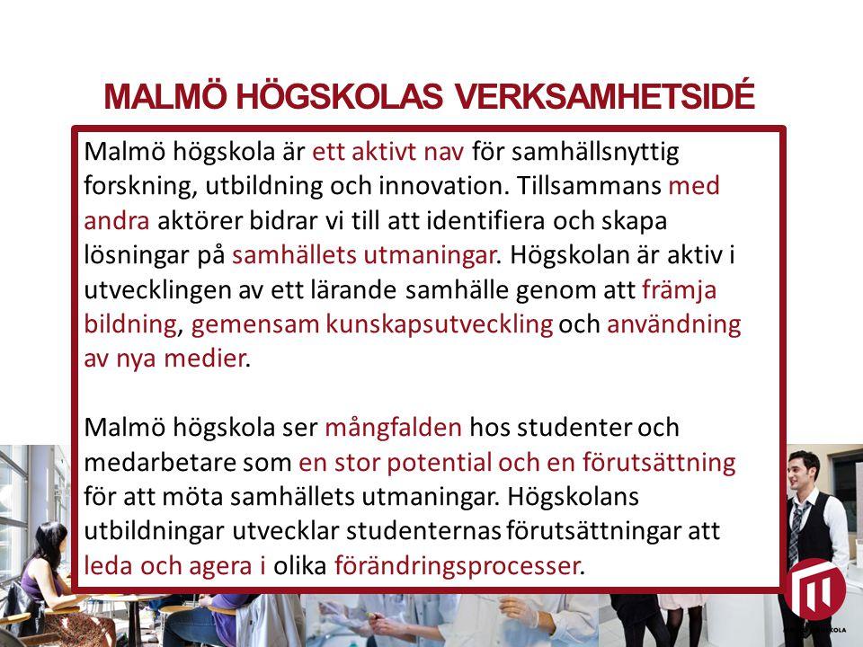 MALMÖ HÖGSKOLAS VERKSAMHETSIDÉ Utbildning och forskning för hållbar samhällsutveckling Malmö högskola är ett aktivt nav för samhällsnyttig forskning,