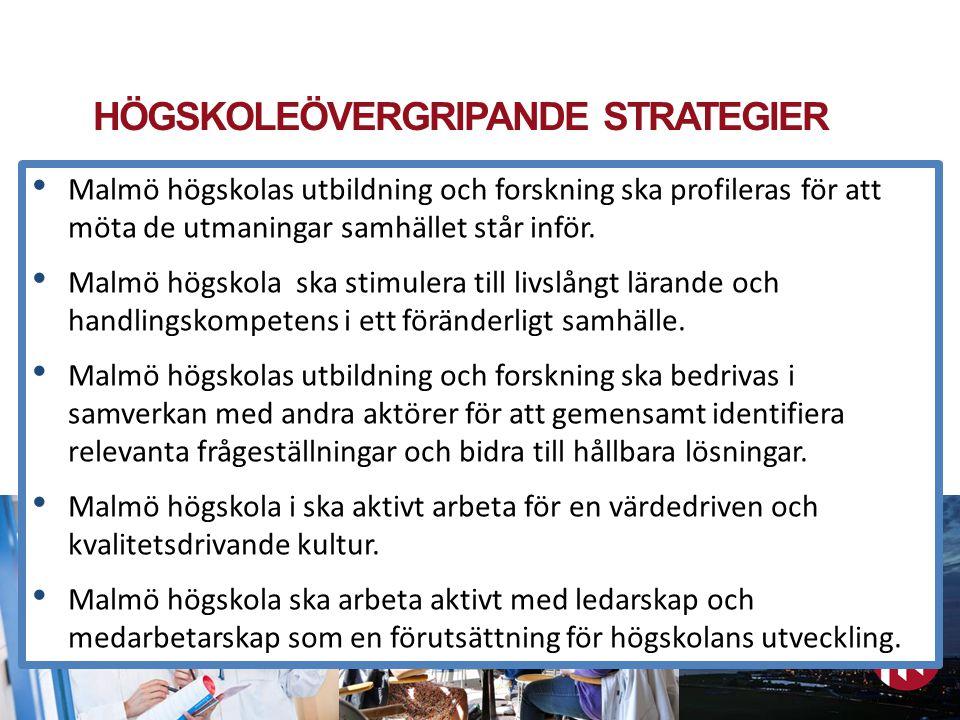 HÖGSKOLEÖVERGRIPANDE STRATEGIER Malmö högskola arbetar utifrån fem övergripande strategier för att nå högskolans målbild 2020.