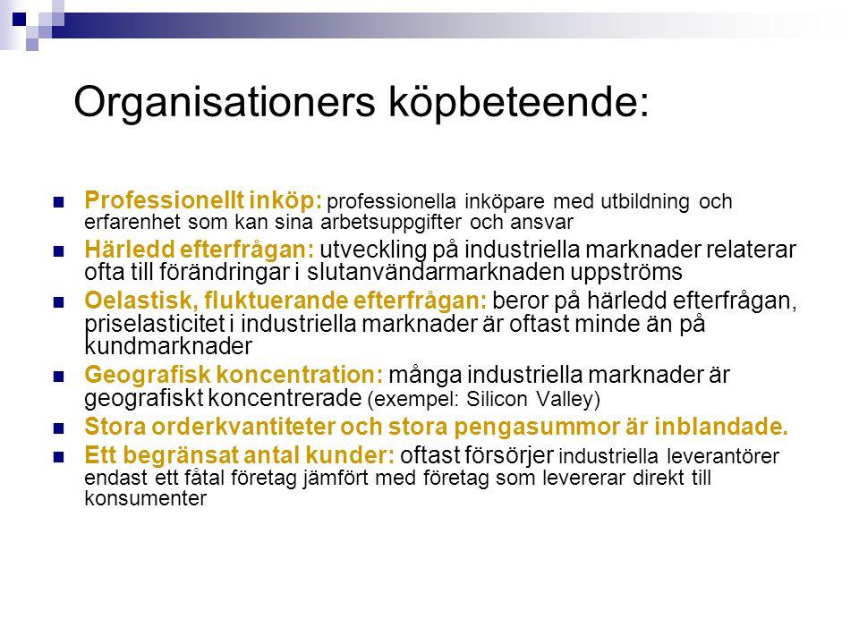 Organisationers köpbeteende: Professionellt inköp: professionella inköpare med utbildning och erfarenhet som kan sina arbetsuppgifter och ansvar Härle