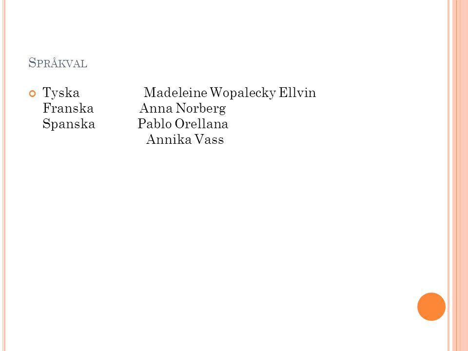 S PRÅKVAL Tyska Madeleine Wopalecky Ellvin Franska Anna Norberg Spanska Pablo Orellana Annika Vass