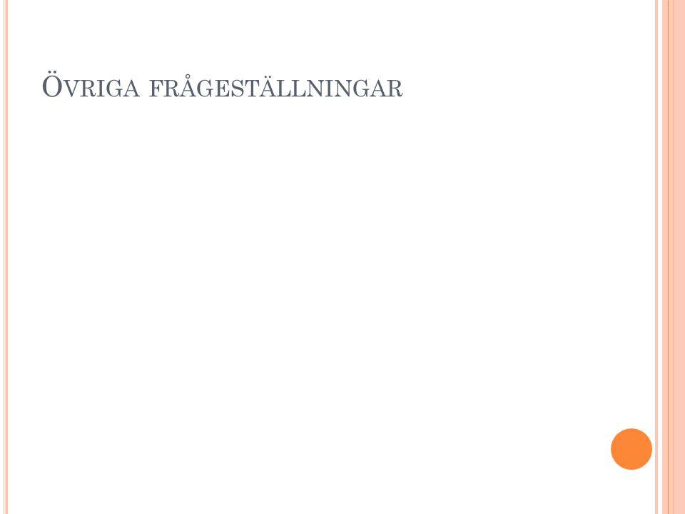 Ö VRIGA FRÅGESTÄLLNINGAR