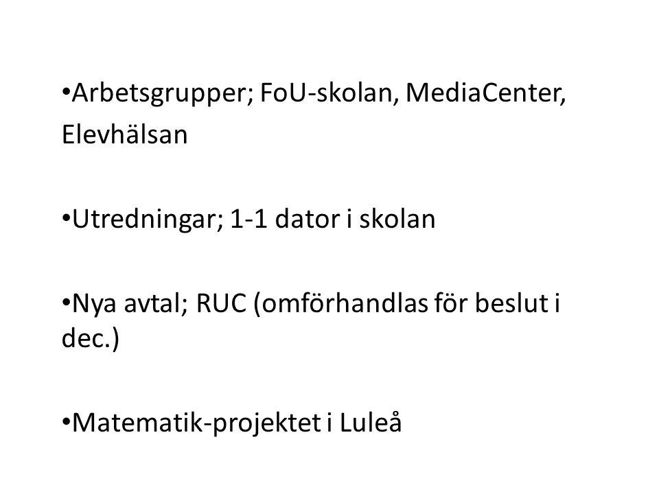 Arbetsgrupper; FoU-skolan, MediaCenter, Elevhälsan Utredningar; 1-1 dator i skolan Nya avtal; RUC (omförhandlas för beslut i dec.) Matematik-projektet i Luleå