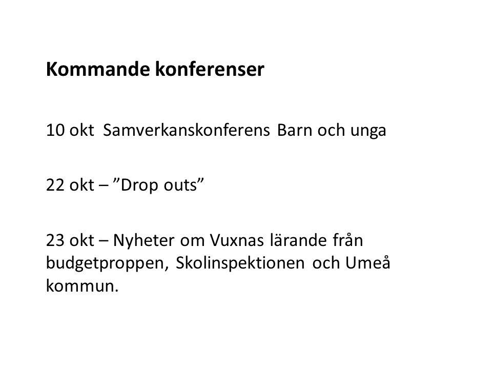 Kommande konferenser 10 okt Samverkanskonferens Barn och unga 22 okt – Drop outs 23 okt – Nyheter om Vuxnas lärande från budgetproppen, Skolinspektionen och Umeå kommun.