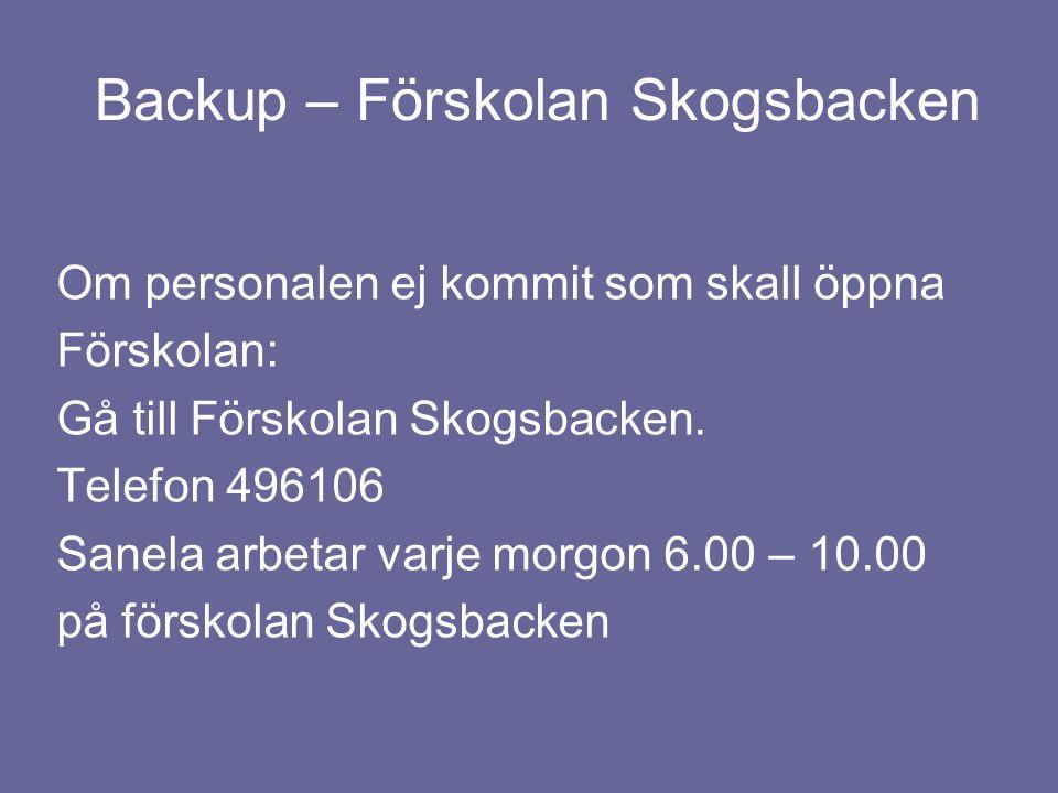 Backup – Förskolan Skogsbacken Om personalen ej kommit som skall öppna Förskolan: Gå till Förskolan Skogsbacken. Telefon 496106 Sanela arbetar varje m
