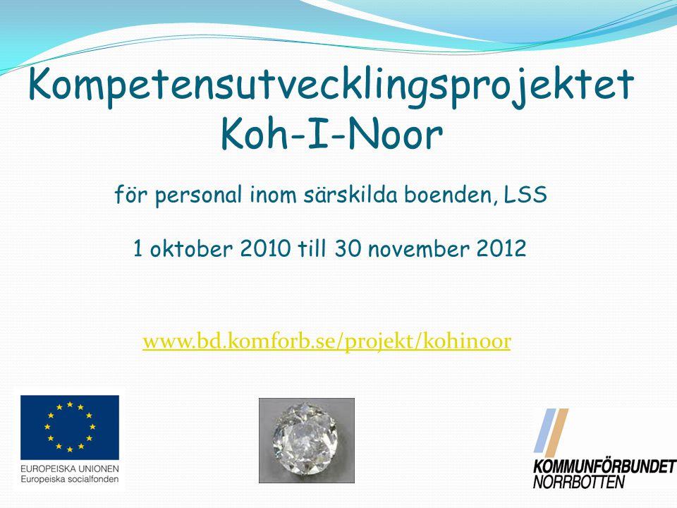 för personal inom särskilda boenden, LSS 1 oktober 2010 till 30 november 2012 Kompetensutvecklingsprojektet Koh-I-Noor www.bd.komforb.se/projekt/kohinoor