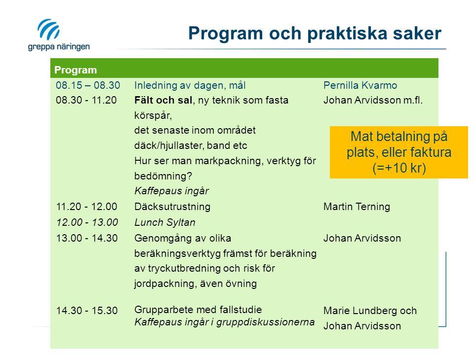 Program och praktiska saker Program 08.15 – 08.30Inledning av dagen, målPernilla Kvarmo 08.30 - 11.20 Fält och sal, ny teknik som fasta körspår, det s