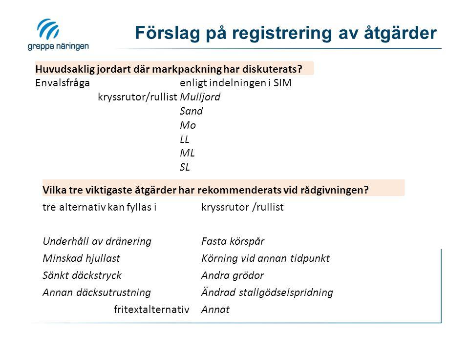 Förslag på registrering av åtgärder Huvudsaklig jordart där markpackning har diskuterats? Envalsfrågaenligt indelningen i SIM kryssrutor/rullistMulljo