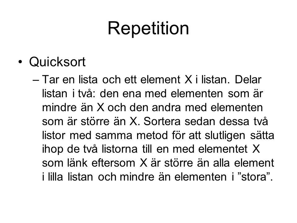 Repetition Quicksort –Tar en lista och ett element X i listan. Delar listan i två: den ena med elementen som är mindre än X och den andra med elemente
