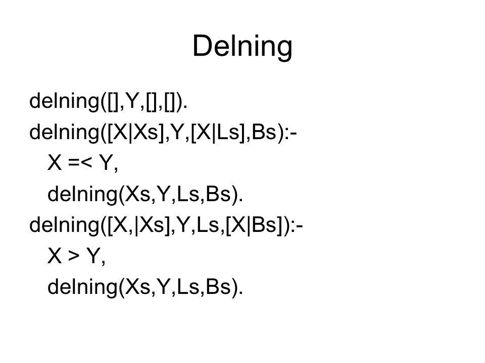 Delning delning([],Y,[],[]). delning([X|Xs],Y,[X|Ls],Bs):- X =< Y, delning(Xs,Y,Ls,Bs). delning([X,|Xs],Y,Ls,[X|Bs]):- X > Y, delning(Xs,Y,Ls,Bs).