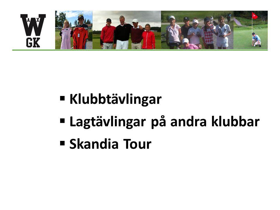  Klubbtävlingar  Lagtävlingar på andra klubbar  Skandia Tour