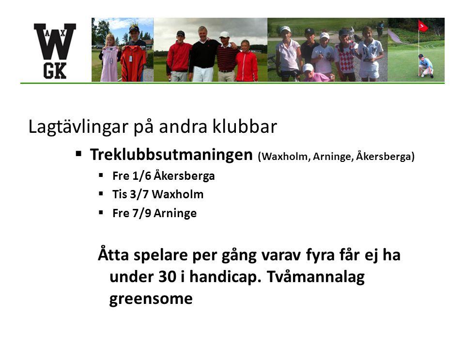 Lagtävlingar på andra klubbar  Treklubbsutmaningen (Waxholm, Arninge, Åkersberga)  Fre 1/6 Åkersberga  Tis 3/7 Waxholm  Fre 7/9 Arninge Åtta spelare per gång varav fyra får ej ha under 30 i handicap.