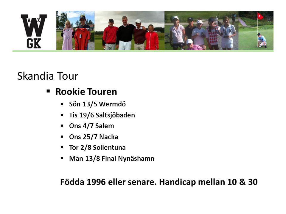 Skandia Tour  Rookie Touren  Sön 13/5 Wermdö  Tis 19/6 Saltsjöbaden  Ons 4/7 Salem  Ons 25/7 Nacka  Tor 2/8 Sollentuna  Mån 13/8 Final Nynäshamn Födda 1996 eller senare.