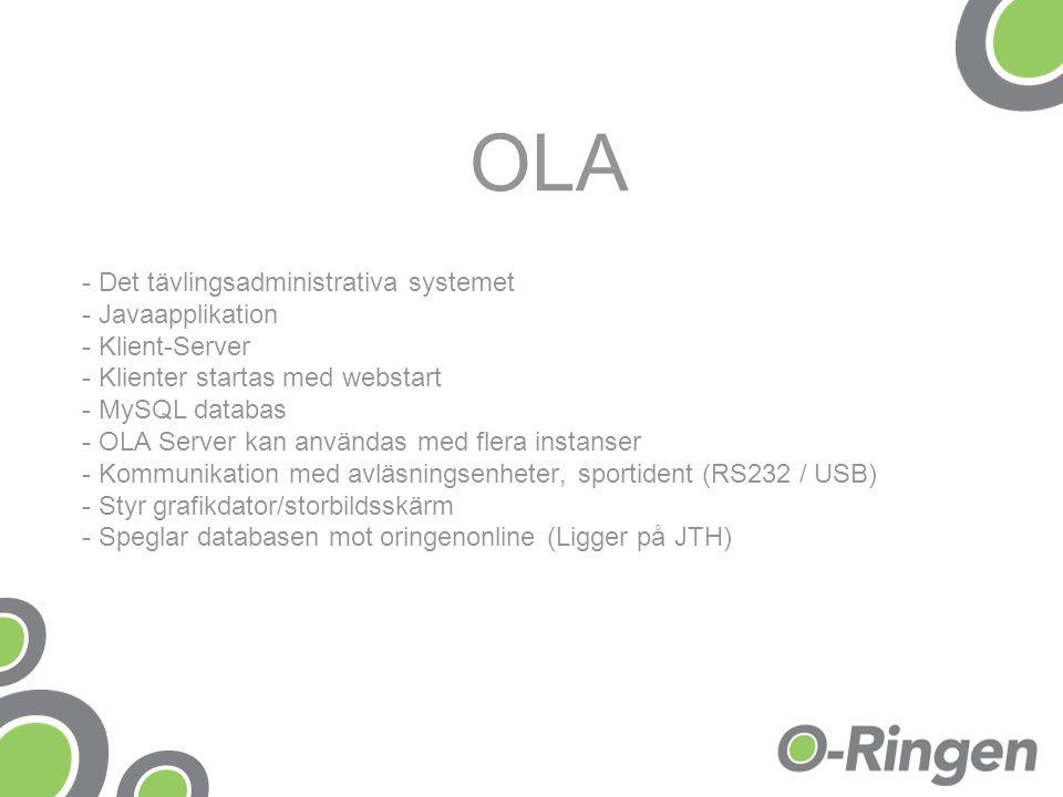 OLA - Det tävlingsadministrativa systemet - Javaapplikation - Klient-Server - Klienter startas med webstart - MySQL databas - OLA Server kan användas med flera instanser - Kommunikation med avläsningsenheter, sportident (RS232 / USB) - Styr grafikdator/storbildsskärm - Speglar databasen mot oringenonline (Ligger på JTH)